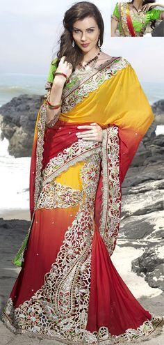 Red & Golden Chiffon #LehengaSaree for #Wedding | @ $189.49