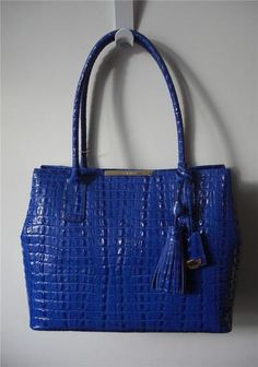 Brahmin Strada Anytime Tote Croc Embossed Leather Indigo Blue | eBay