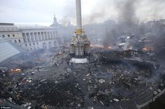 The wasteland: Kiev's Independence Square has become the focal point for…
