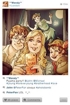 """The Photobombed Selfie: Wendy, Peter Pan, John, and Michael"" by Simona Bonafini"