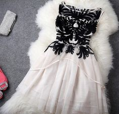 White and Black Chiffon and Lace Dress Private Label Formal - $72