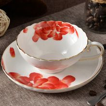 JSAron China - Red Flower Design, Porcelain Teacup/Saucer