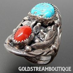 VINTAGE RITA & RICHARD BEGAY NAVAJO 925 SILVER CORAL TURQUOISE WIDE SA – Gold Stream Boutique