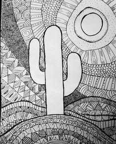 #doodle #zentangle #cactus #doodleoftheday #createdtocreate #diy #starvingartist  #desert