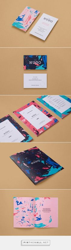 The Hugo Branding by StudioBrave The design is very minimalistic. The information on the brochure, business card and magazine layout is designed for only a glance. Design is very visually enhanced, creating tone and colourful/abstract atmosphere Self Branding, Branding Agency, Logo Branding, Personal Branding, Web Design Agency, Brand Identity Design, Branding Design, Logo Design Trends, Brochure Design