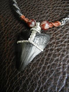 Shark Tooth Fossil Necklace in Black, Grey, and Rust Macrame Hand Knotting with Silver Wire Wrap Wire Pendant, Wire Wrapped Pendant, Wire Wrapped Jewelry, Mens Beaded Necklaces, Diy Necklace, Macrame Necklace, Megalodon, Rope Jewelry, Tooth Jewelry