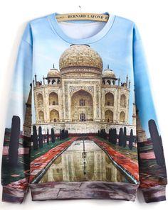Blue Long Sleeve Building Print Sweatshirt US$30.82