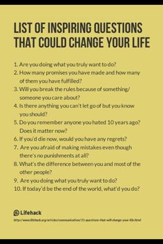 List of Inspiring Questions That Could Change Your Life. I use some of these inspiring questions with my clients in Life Shift Coaching! The Words, Life Questions, This Or That Questions, Coaching Questions, Journal Questions, Interesting Questions To Ask, Amazing Questions, Questions To Ask People, Psychology Questions