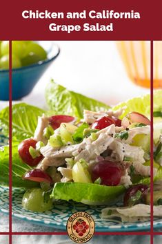 This homemade, cold, gourmet chicken salad with grapes from California, celery, and avocado makes the best lunch or dinner! #chickensaladwithgrapes #easy #andcelery #recipefor #homemade #california #best #bestever #cold #avocado #gourmet #chickensalad #withgrapes #chickensaladrecipe #recipe Chicken Salad With Grapes, Grape Salad, Chicken Salad Recipes, Grape Recipes, Summer Recipes, Gourmet Chicken, Salad Ingredients, Healthy Salads, Clean Eating Recipes