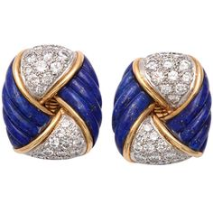 Pre-owned Gold,  Lapis & Diamond Earrings by Tiffany & co ($18,000) ❤ liked on Polyvore featuring jewelry, earrings, clip-on earrings, tiffany & co earrings, 18k earrings, 18 karat gold jewelry, yellow gold earrings and diamond jewelry