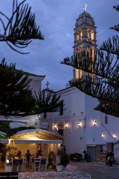 Tinos, Greece, taverna beside the church