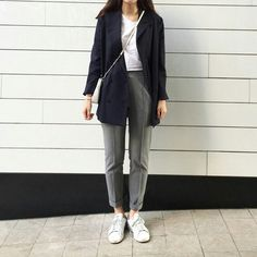 long navy blazer + grey trousers + white tee & trainers + crossbody bag