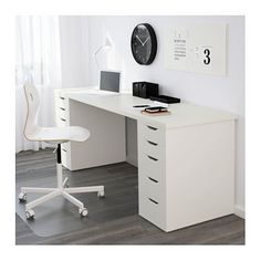 Ikea Office, Ikea Desk, Home Office Space, Home Office Design, Home Office Decor, Office Furniture, House Design, Diy Desk, Ikea Alex Desk