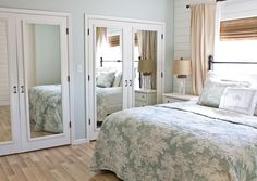 Open up your room by adding extra mirrors onto the closet doors.  It will give you extra ways to check out your outfits and a way to make your room look and feel a bit bigger.  Mirrors also add light, so in the daytime it will give the room an extra special punch of vibrancy.