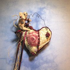 Mouse Heart Roses Love Pin Cushion Primitive Pin by MotherlodeToad