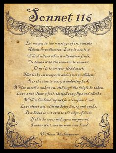 Shakespeare sonnet 116 - Just read this at a wedding. Awww, I miss people.