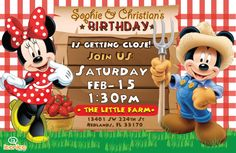 Mickey & Minnie Farm Birthday Party : Digital Invitation Please add the info During checkout in the notes to seller box : name , age , party date ,