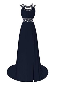 JudyBridal Women Beaded Bridesmaid Dress Evening Party Chiffon Gown Navy Blue * Want to know more, click on the image.