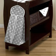 Gray and White Dots and Stripes Diaper Stacker | Carousel Designs