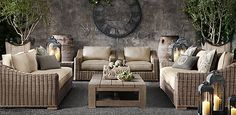 Provence Outdoor Furniture from Restoration Hardware.  I like the softened brown/gray.  It's SOOOO comfortable, too.  Not usually a fan of wicker, but in person, it looks cool.