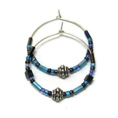 Sterling Silver Hoop Earrings With Blue and Silver Beads by @Solana Kai Designs - Jewelry on ArtFire