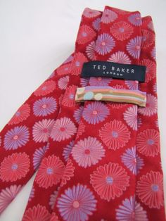 Ted Baker London Tie 100% Silk Satin & Woven Jacquard Red Pink Blue Flowers #TedBaker #Tie