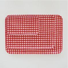 Fog Linen Tray | Red White Check