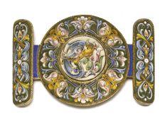 A silver-gilt and cloisonné enamel belt buckle, Feodor Rückert, Moscow, circa 1895 | lot | Sotheby's