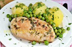 Kuřecí prsa s tymiánem a hráškem Baked Potato, Potatoes, Baking, Ethnic Recipes, Food, Bakken, Eten, Bread, Potato