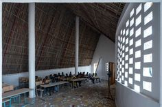 Toshiko Mori Architect aimed to used local materials to demonstrate alternatives to the government-mandated school designs usually used in the region.