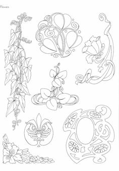 "Photo from album ""Art Nouveau Designs"" on - Ornamente - Tattoo Fleurs Art Nouveau, Motifs Art Nouveau, Design Art Nouveau, Motif Art Deco, Art Nouveau Flowers, Art Nouveau Pattern, Tattoo Painting, Illustration Art Nouveau, Jugendstil Design"