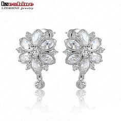 LZESHINE Flower Earrings Studs Top Quality Marquise Cut Clear Color Cubic Zirconia Stud Earrings