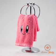 Kirby Inspired - Embroidered Hand Towel. $10.00, via Etsy.