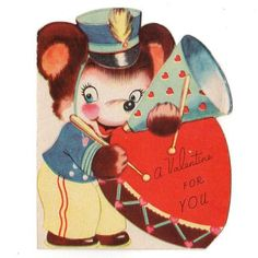Vintage Valentine Card Bear with Heart Shaped Drum and Megaphone