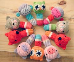 Crochet rattles - just inspiration Crochet Baby Toys, Crochet Amigurumi, Crochet Toys Patterns, Crochet Animals, Amigurumi Patterns, Crochet Crafts, Crochet Dolls, Baby Knitting, Crochet Projects