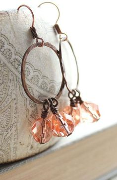 Glass Bead Earrings Peach Pink