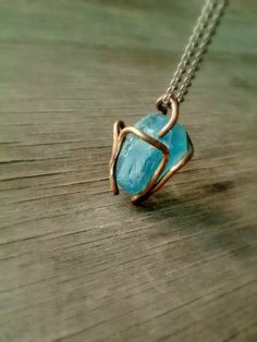Artisan Copper Wirewrapped Turquoise Blue by JennieVargasJewelry,