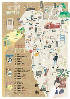 地圖散步|map work Taiwan  Nigo Lee / nicaslife  Love the textures and warm neutral colour palette. Fine roads and small details coupled with pale tones implies a delicacy which suits adult information making the text fit in aesthetically.