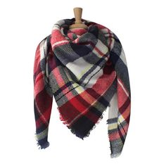Women's Azuri Oversized Plaid Check Striped Blanket Scarf... ($15) ❤ liked on Polyvore featuring tops, red, plaid top, tartan blanket scarf, red top, red plaid top and plaid blanket scarf