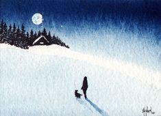 mini watercolor- winter scene More
