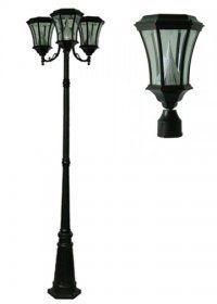 Victorian Solar Lamps with Three Lanterns: Classic lamp post design, latest in solar technology. Affordable!