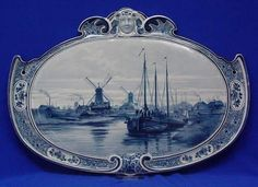 Large plaque Royal delft made in 1890 museum blue