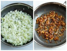 Before and after process shots for caramelizing onions to make spinach pie. Spinach Puff Pastry, Spinach Pie, Vegetable Quiche, Gruyere Cheese, Side Dishes Easy, Caramelized Onions, Pie Recipes, Finger Foods, Risotto