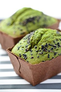 matcha pound cake.  add matcha (start with about 2 t - more or less to your taste and add black sesame seeds on top for crunch to your favorite recipe - replace butter with marscapone (optional) -  got it all that?  I made this with my ginger pound cake recipe as the base and it was sooooo good.