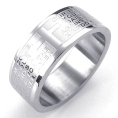 Stainless Steel Scripted Cross Ring