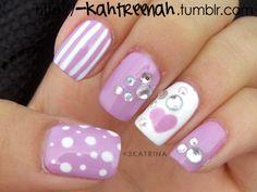 Nail Art purple polka dots, hearts and stripes