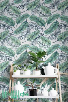 Seamless Tropical Jungle Palm Leaves Pattern - Removable Wallpaper - Tropical Wall Sticker - Palm Leaves Self Adhesive Wallpaper - 219