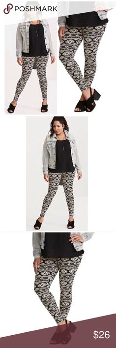 Ivory Geo Print Full Length Leggings NWT Trendy Ivory Geo Print Full Length Leggings, Plus Size 2X, Cotton/Spandex. Additional Details Attached with Pictures torrid Pants Leggings