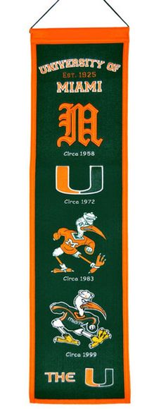 "Miami Hurricanes Wool 8""x32"" Heritage Banner"