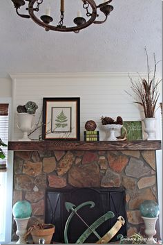 Fall mantel (plus a tutorial on how to make a shiplap mantel wall.